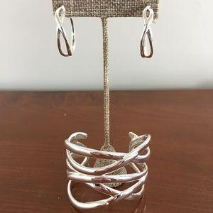 Stella & Dot Odette Silver Cuff And Earrings Lot